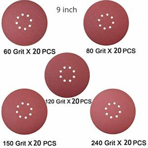 5 Grits 100 psc 9 Inch Hook and Loop Sanding Discs Sander Paper For Drywall