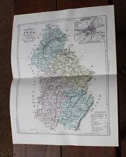 1850 Carte Géographique Atlas époque couleur Département 39 Jura