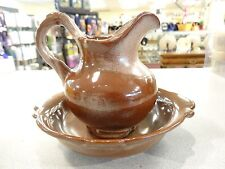 One Frankoma 40A 40B Brown Satin Plainsman PITCHER & Bowl DISCONTINUED