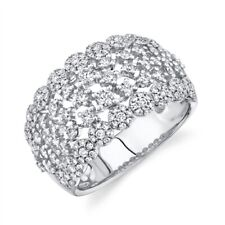 Womens Diamond Cocktail Ring 14K White Gold Wide Round Cut Statement Right Hand