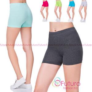 Womens Super Soft Cotton Shorts Elastic Stretch Yoga Sport Knickers UK 8-22 PSL5