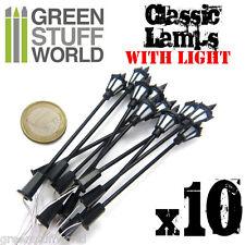10x Farolas Clasicas con Luces LED - modelismo infinity trenes escenografia