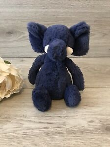 Jellycat Small Bashful Elephant Elly Navy Blue Plush Teddy Baby Comforter Doudou