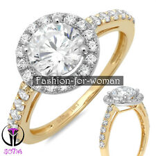 2.30Ct VVS1 Round Cut DIAMOND 14K Yellow GOLD Promise Halo Ring Engagement CINDY