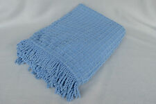 """CUTE and Cozy Blue Check Chenille Throw Blanket 50"""" x 69"""" Blue Moon NEW!"""