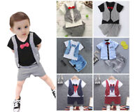 1 set Baby kids boys tops&short Pants party wedding formal suit Tuxedo outfits