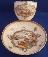 Antique Miles Mason Porcelain Chinoiserie Scene Cup & Saucer Porzellan Tasse