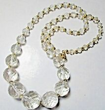 """Vintage Jewellery 20"""" Clear Crystal Faceted Cut Glass Gold Tone Bead Necklace"""