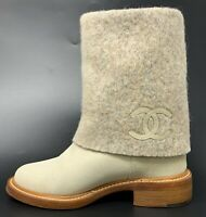 Authentic CHANEL Coco Mark Boots #35.5C US 5 Suede Light Gray Ivory Rank AB