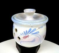 "JACK WESTLIN SIGNED NORTHWEST ART POTTERY BLUE  FLORAL 4 3/4"" POTPOURRI JAR"