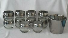 10 Dorothy Thorpe Silver Fade Rim Mad Men Roly Poly 11 oz Glasses & Ice Bucket
