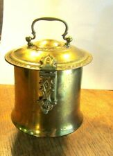 1920'S British India Hand Crafted Brass Tea Caddy With Latch & Hinged Lid Signed