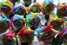 10 Diamante Rainbow Rose Wedding Flowers Buttonholes Artifical With Pins