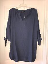 Madewell Women Du Jour Tie Sleeve Tunic Dress G1281 $118 Blue L Large Pockets
