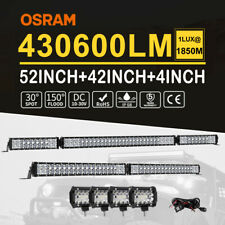 """52inch Osram LED Light Bar+42"""" Spot Flood+4x 4in Combo Work Lamp Driving Offroad"""