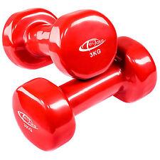 2 x 3 kg Conjunto de mancuernas de vinilo pesas aerobic deporte yoga rojo