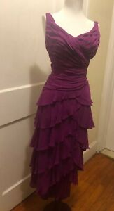 TADASHI COLLECTION DRESS V Neck LAYERED LACE SILK Fuschia Size 4