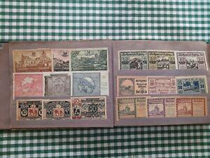 altes Album mit österreichischem Notgeld und alten Banknoten aus Europa