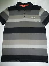 Puma Marke Polohemd Poloshirt Shirt Polo gestreift grau schwarz Gr. S