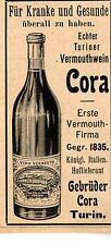 Gebrüder Cora Turin TURINER VERMOUTHWEIN  Historische Reklame von 1899