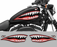 2 STICKERS DENTS REQUIN SHARK CHOPPER BOBBER 50cm MOUTH SHARK MOTO BIKER SB210