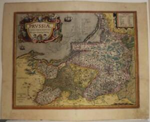 POLAND & LITHUANIA 1598 ABRAHAM ORTELIUS UNUSUAL ANTIQUE COPPER ENGRAVED MAP