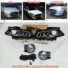 Fog Lights&3 Colors LED DRL Lamps Wiring Kit k For Ford Fusion Mondeo 2013-2016