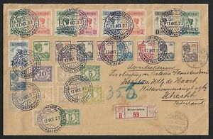 NETHERLAND INDIES TO HOLLAND AMAZING AIR MAIL FRANKING COVER 1927