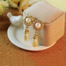 New Fashion Charm Flower Pearl Pendant Drop Hoop Earrings Ear Stud Jewelry Gift