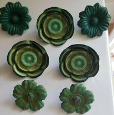7 VTG Metal & Plastic Green Flowers Curtain Tie Backs Push Pins Holders