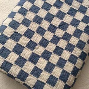 Ralph Lauren Fallon Farmhouse Patchwork Checkerboard Twin Quilt Blue/White 70x89