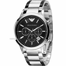 Emporio Armani AR2434 Steel Black Chronograph Men's Wrist Watch + Original Box