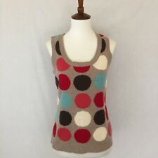 BODEN Size 10 Tan Multi-Color Polka Dot Wool Knitted Sweater Vest Tank