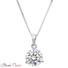 "2.0Ct Round Cut 14K White Gold 3-prong Pendant Necklace Box With 18"" Chain"