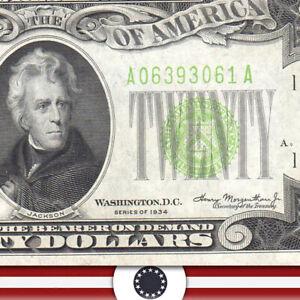 1934 $20 BOSTON FRN *LIGHT GREEN SEAL*  Fr 2054-A LGS  A06393061A-WUT