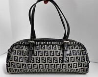 Fendi Italy Navy Blue Gray Zucca FF Canvas Leather Shoulder Bag