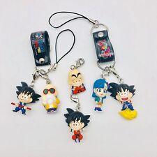 Set of 3 Dragon Ball Phone Strap Figure Sets: Goku, Bulma, Krillin, Roshi
