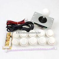 Arcade DIY Parts USB Encoder To PC China Sanwa Joystick + 10 Push Buttons White