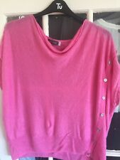 WOMENS FAB MINT VELVET PINK LINEN BUTTON TOP SIZE XL