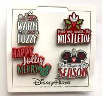 NEW DISNEY PARKS HOLIDAY MESSAGES 4 PIN SET