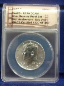 2018 S ANACS PF 70 D-Cam Reverse Proof Silver Kennedy *DN*