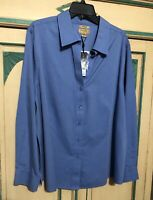 NWT Long Sleeve Women's Gold Label Investments II Non-Iron Blue Shirt 24W 3X