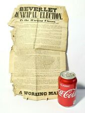 More details for 1851 beverley municipal election to the working classes poster flyer #bh