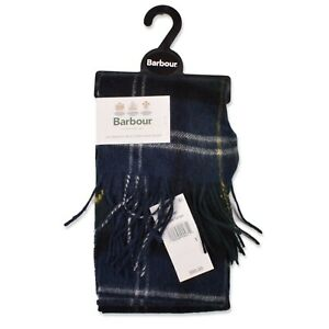New Barbour Seaweed Tartan Merino Wool Cashmere Scarf Blue Green Plaid NWT