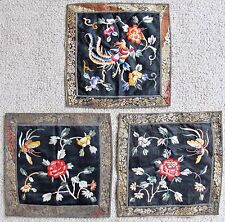 3 Chinese Embroidery Silk Rank Badge Style Panels with Butterflies & Phoenix