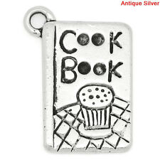 6 Silver Pewter COOK BOOK Baking Charm Pendants chs0628