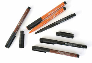 Faber-Castell PITT Artist Pen Fineliner - Black, Sepia & Sanguine - S F M