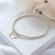 Sterling silver butterfly charm bracelet, textured beaded stacking jewellery