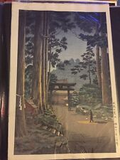 5) antique ORIGINAL STRIKE japanese woodblock MINT CONDITION tall trees w/temple