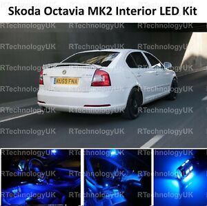 BLUE PREMIUM SKODA OCTAVIA MK2 2004-2013 INTERIOR LED LIGHT KIT XENON BULBS